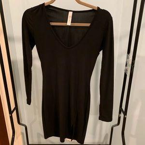 Black tight slit side dress